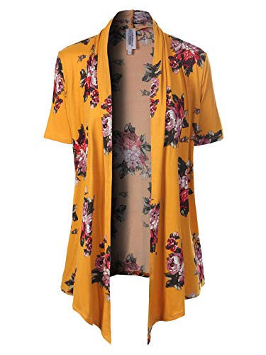 - MixMatchy Women's [Made in USA] Solid Jersey Knit Short Sleeve Open Front Draped Cardigan (S-3XL) Mustard/Red Flower Print M