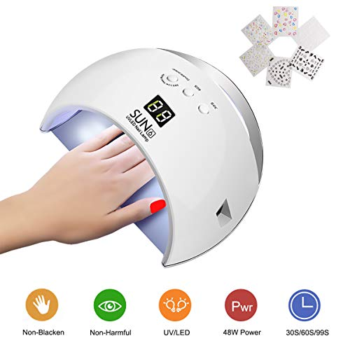 (Topwey 48W LED Nail Lamp Dryer, UV Nail Dryer Curing Lamp for fingernail & Toenail Gels Based Polishes with 30s/60s/90s Timer Setting & Auto Sensor Nail Art Tools for Home)