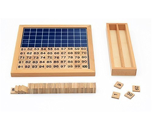 Vidatoy Classic Hundred Board Montessori Teaching Aids 1-100 Consecutive Numbers Wooden Toys Hundred Count Games for Children Learning Arithmetic - Upgraded Version