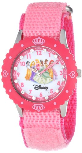 Disney Kids' W000385 Princess Glitz  Stainless Steel Time Teacher Pink Bezel Pink Nylon Strap Watch