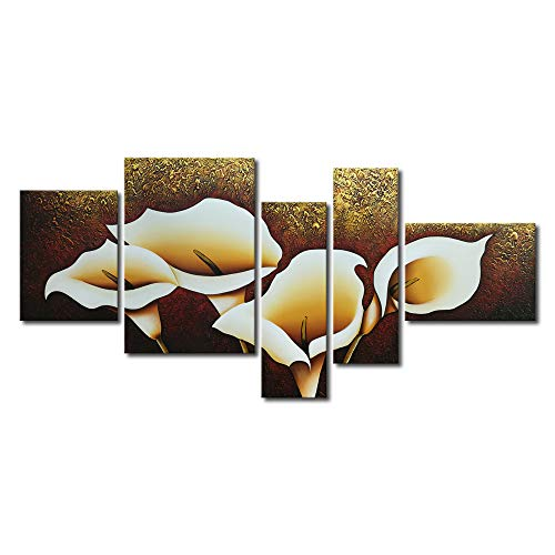- Wieco Art Calla Lily Flowers Oil Paintings on Canvas Wall Art for Living Room Bedroom Home Decorations 5 Piece Modern Gallery Stretched and Framed 100% Hand Painted Brown Grace Floral Artwork