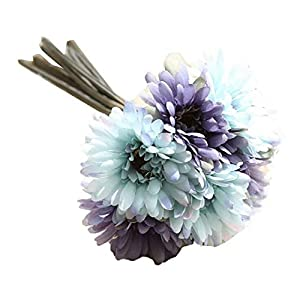 MARJON FlowersArtificial Flowers Fake Flowers Bouquet in Blue for Wedding Home Decor Garden 7 Heads Gerbera 84
