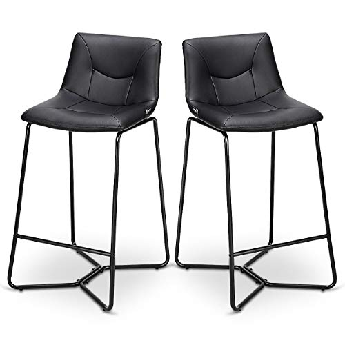 Abbeydh Set of 2 PU Leather Bar Stools Pub Chairs with Metal Legs