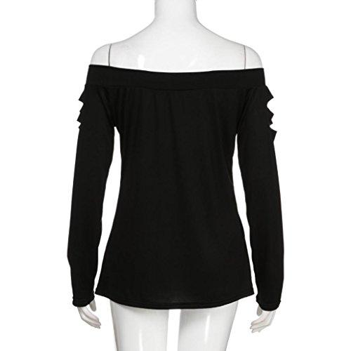 longues Elegant Dames Crop Chic Chemisier Tunique Shirt Tee Rond Blouse Basic Top Shirt Haut d'amour Chemise Noir Col Mode Femme Chat manches Épaule T Hemd à Reaso Tops Sexy Impressions gTIZ8q