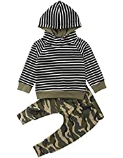 Toddler Kids Baby Boys Stripes Hoodies Sweatsuits Tops+Camouflage Pants Outfits Set 2PCS Clothes Set