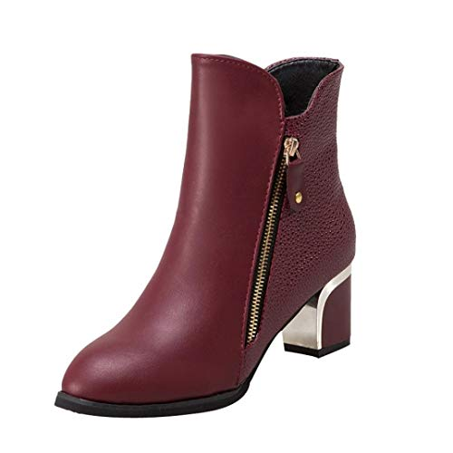 DAYSEVENTH Clearance Fashion Bare Boots Pumps Leather Block Heel Zipper England Martin Boots Pointed Ladies' Shoes Wine
