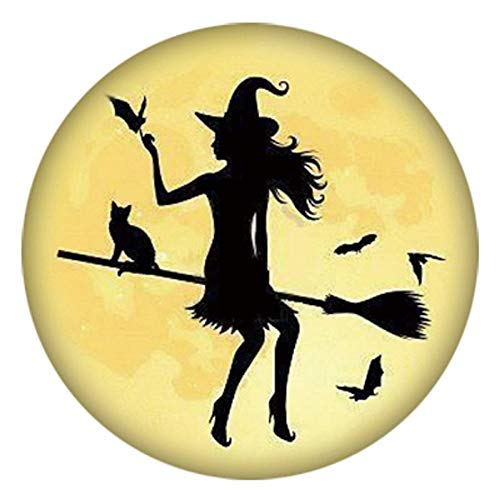 My Prime Gifts Snap Jewelry Halloween Witch on Flying Broom Painted Enamel Standard Size 18-20mm -
