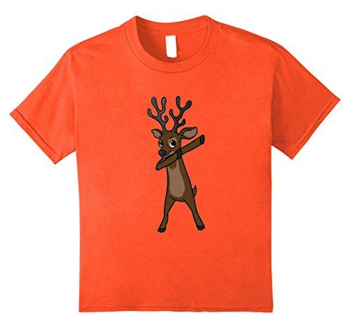 Kids Funny Elk T Shirt Christmas Gift Elk Dabbing Dab Dance 8 Orange - Dancing Elk