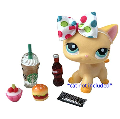 LPS Littlest Pet Shop - 6 PC Lot Accessories Clothes Food Starbucks Bow Hershey Bar Cupcake -