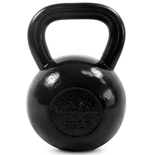 Yes4All Solid Cast Iron Kettlebell Weights Set - Great for Full Body Workout and Strength Training - Kettlebell 65 lbs (Black)