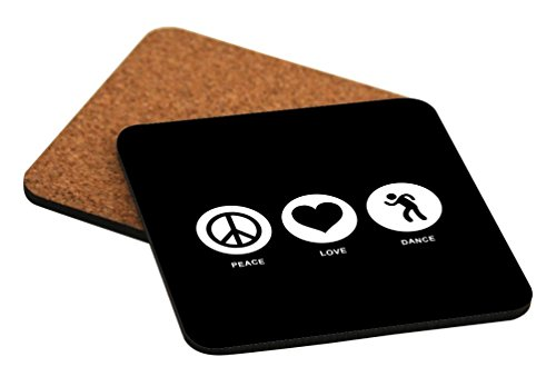 Rikki Knight Peace Love Dance Black Color Design Cork Backed Hard Square Beer Coasters, 4-Inch, Brown, 2-Pack by Rikki Knight