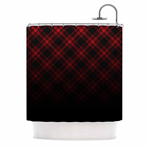 KESS InHouse Draper Timber Black Red Digital Shower Curtain, 69