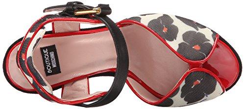 Boutique Moschino Dames Platform Sandaal Rood / Wit / Zwart Bloemen