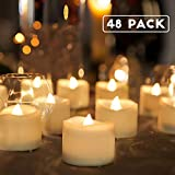 Homemory Battery Tea Lights Bulk, 48-Pack LED Tea Lights, Flickering Tea Lights, Long Lasting Battery Life, Warm White, D1.4'' X H1.25''