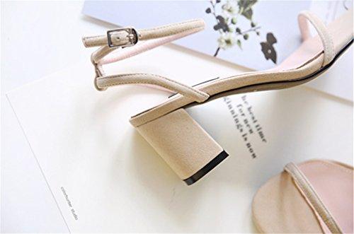 EU38 Scarpe Smerigliato Tinta Medioevo Hasp Sandali Alto Rugiada BIANJESUS Tonda Natural Tacco Donna Giovanile Di Alto E Tacco Unita Raso Testa Nuova Estate Bxw0wqOT