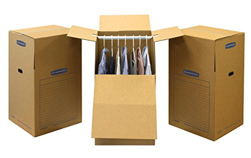 Bankers Box SmoothMove Wardrobe Moving Boxes, Tall, 24 x 40 Inches, 3 Pack (7711001) (Coat Moving Box)