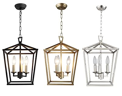 "Cage Pendant Light Lantern Iron Art Design 3-Heads Candle-Style Chandelier Ceiling Light Fixture for Hallway Kitchen Dinning Room Bar Restaurant (W 11"" X H 14"")"