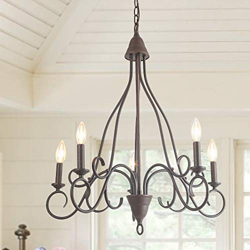 (LALUZ 5 Lights Transitional Island Pendant Iron Chandelier in Rusty Metal Finish with Candlesticks, 24