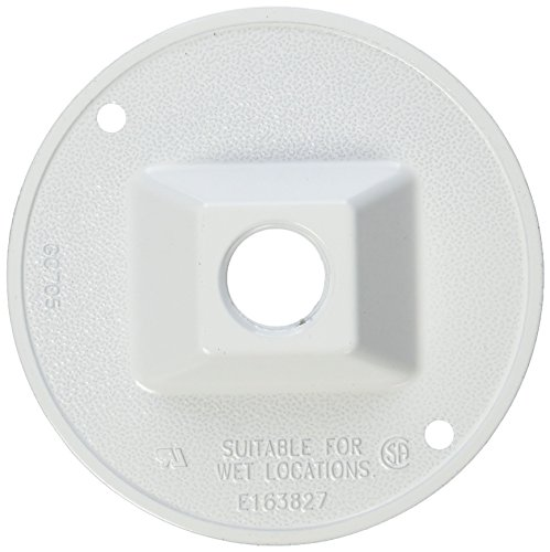 Hubbell 5193-6 Bell Raco Round Cluster Cover, For Use With Weatherproof Boxes, Die Cast Zinc, Powder Coated, White, White