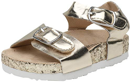 dELiA*s Toddler Girls Footbed Sandal with Glitter Outsole, Gold, Size 8 M US Toddler'