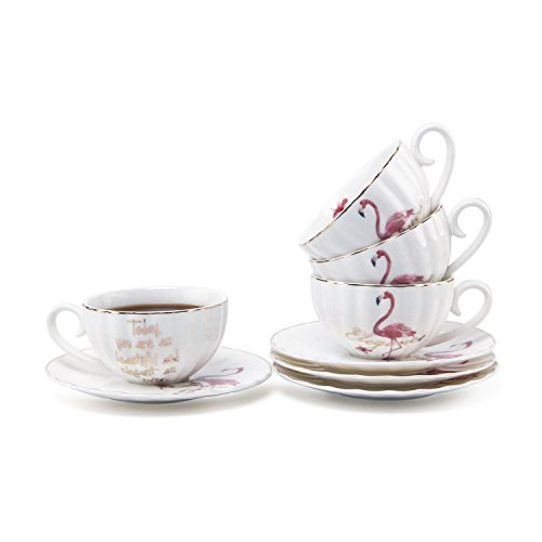 Mucihom 7.5oz Flamingo Coffee Cup with Saucer, British Royal Style White Porcelain Cappuccino/Latte/Tea Cup with Saucer Sets Pack of -