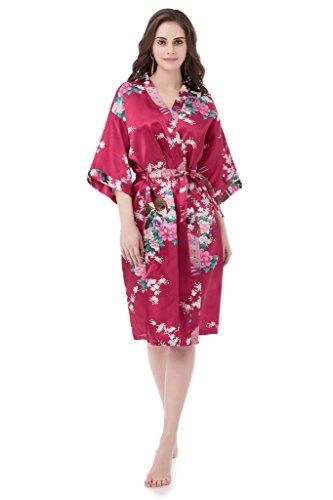 gusuqing Women s Printing Peacock Kimono Robe Short Sleeve Silk Bridal Robe  Burgundy M (B06X1J14TD)  ad06d0717