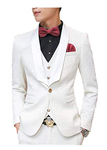 MOGU Mens New Casual Slim Fit Skinny Dress Suits 3 Piece US Size 36 (Label Asian Size XL) White