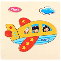 Educational Wooden Puzzle for Kids Animal and Vehicle Patterns - Airplane