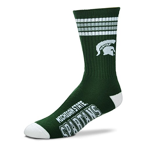 (For Bare Feet Mens NCAA 4 Stripe Deuce Crew Socks, Michigan State Spartans,)