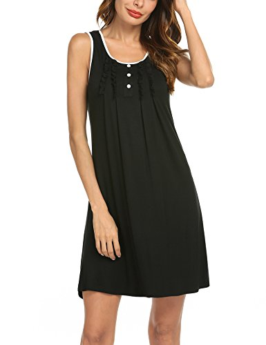 Hotouch Women's Cotton Sleepshirt Nightshirt Pajama Top Black XXL (Nightgown Top)