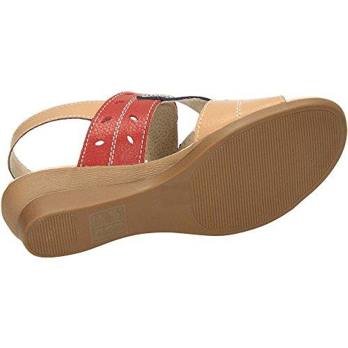 Wedge Cushion Walk Slingback flexibles de punta Sandalias Leather abierta q6xSXwUWR