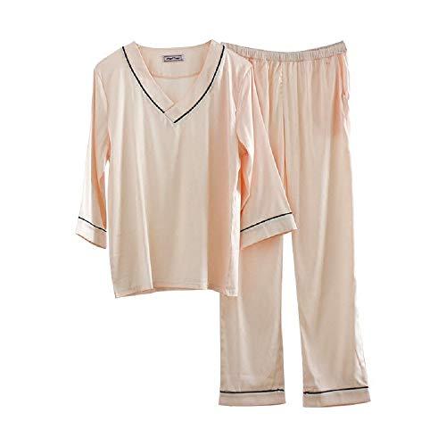 Mmllse Pigiama estivo da donna semplice da risvolto in raso con collo a V set di pantaloni a maniche lunghe Photo Color