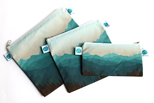 Reusable Sandwich & Snack Bags by MAKE WAVES – Set of 3 Designer Cotton – Eco Friendly, Washable, with Zipper – Mountain Theme