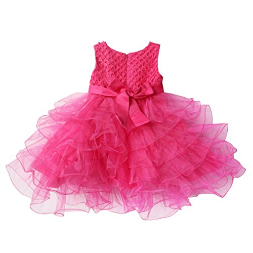 Flower Dress Bowknot Communion Rose Pageant Wedding Girls Princess Party Baby TiaoBug xEfq66