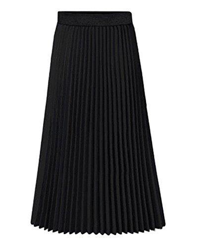 Mujeres Elegante Maxifalda Plisada de Cintura Alta Faldas Largas Vacaciones Playa Negro
