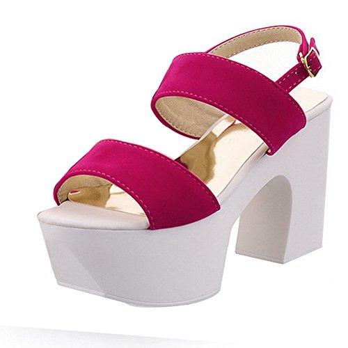 BalaMasa da donna Open toe fibbia solido tacchi alti sandali, Rosso (Red), 35