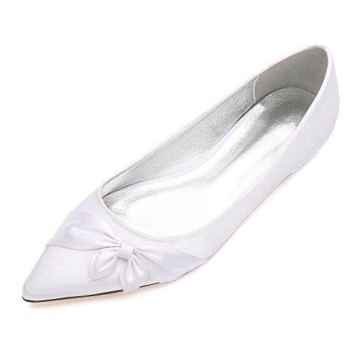Wedding Brooch Pumps 5047 Shoes Dolly Evening Womens Bowknot Flat White Bridal Elegant high 24 shoes Ladies zq8nt