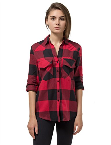 Women 39 s plaid flannel shirt red black checkered long for Ladies soft flannel shirts