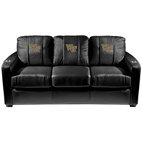 XZipit College Silver Sofa with Wake Forest Demon Deacons Logo Panel, Black