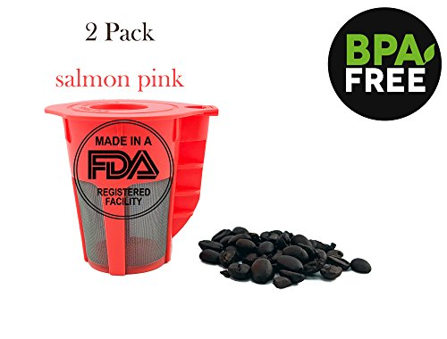 Pink Carafe - NRP Salmon Pink Refillable Carafe K cup Coffee Filter for Keurig 2.0 Coffee Brew System - 2pack