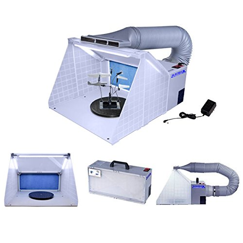 Master Portable Hobby Airbrush Spray Booth Kit with LED Lights, Exhaust Extension Hose (Extends up to 5.6 Feet) and 7.5 in. Diameter Revolving Turntable Master Airbrush