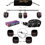 PKBQUEEN Expandable Spreader Metal Bar with 3D Embossed Leather Adjustable Straps Set Position Master Sports Safe Training Aid Wrist Ankle Weight Home Yoga