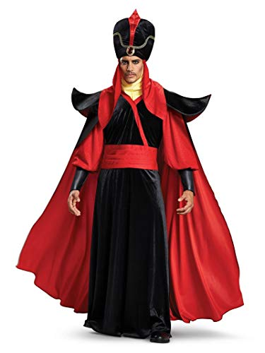Cheap Villain Costumes (Disguise Men's Jafar Deluxe Adult Costume, Black, M)