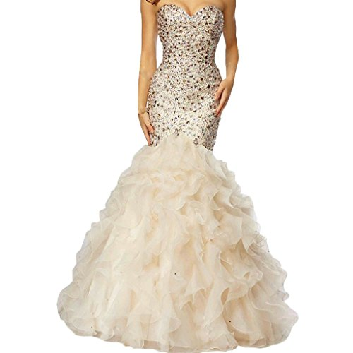Crystals Long Mermaid Ruffles Beaded Sweetheart Corset Formal Prom Evening Dresses Beige US (Beaded Long Formal Dress)