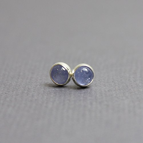 - Tanzanite Stud Earrings-4mm Blue Post Earrings in all Sterling Silver-Handmade