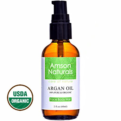 ARGAN OIL 100% Pure & USDA Organic 2 0z (60ml) by Amson Naturals for Face, Body, Nail and Hair Health and Beauty.Best Cold Pressed, Natural Antioxidant, Anti-Aging Moisturizer For All Skin & Hair Types From Morocco Canada