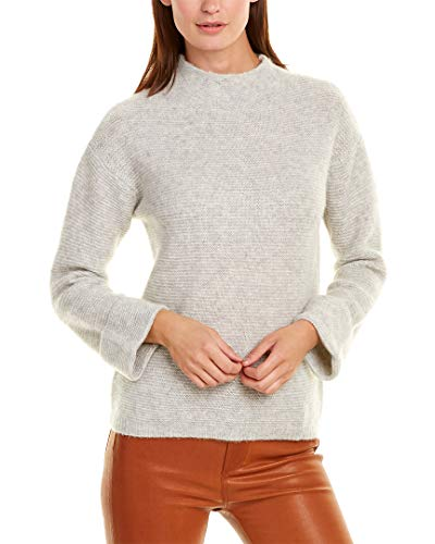 Minnie Rose Womens Mock Neck Cashmere & Silk-Blend Sweater, L, Grey