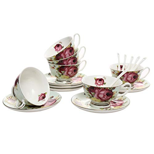 ufengke 7oz Flora Coffee Cup Set,Porcelain Cappuccino Cups with Saucers and Spoon,Set of 6 Ceramic Tea Cup and Saucer ()