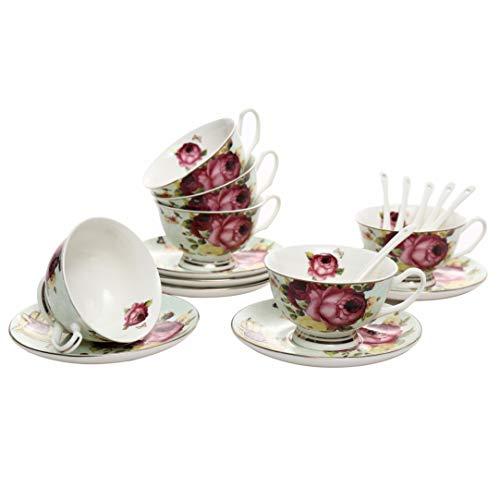 ufengke 7oz Juego de Tazas de Cafe Flora,Tazas de Porcelana Capuchino con Platillos y Cuchara,Conjunto de 6,Taza de Te de Ceramica y Juego de Platillo,Rojo