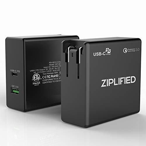 USB C Wall Charger, Ziplified 60W Power Delivery 3.0 & QC 3.0 Dual Port Charger with ETL Certification for iPhone XS/Max/XR/X/Galaxy S9 / Pixel 2/3/XL MacBook Pro and all PD devices